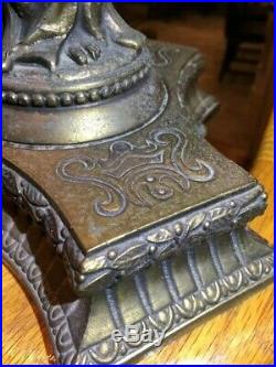 Antique Art Nouveau Deco Figural Ladies Lamp Original Flame Shade Newel