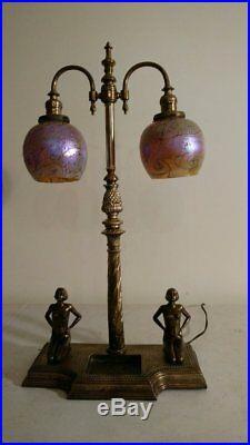 Antique Art Nouveau/Deco Figurative Lamp with 2 nude women Spectacular