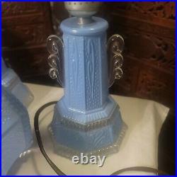 Antique Blue Glass Art Deco Boudoir Lamp Pair Bubble Flair Working C. 1930