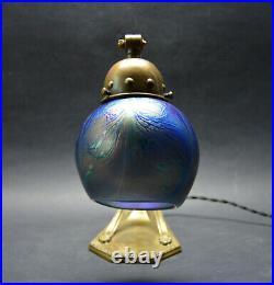 Antique Bohemian ART Nouveau 1910's Table Wall Lamp Iridescent Glass Shade