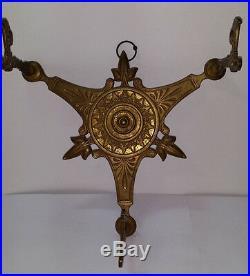 Antique Brass Art Deco 3 Arm Wall Lamp / Lantern / Coat Rack. Beautiful Design