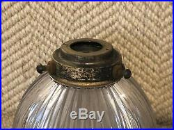 Antique Brass Art Deco Stepped Holophane Lamp Gallery Pendant Light Shade Holder
