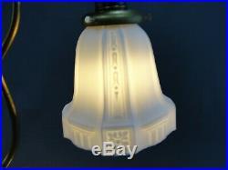 Antique Brass Double Light Art Deco Era Lamp Opal Milk Camphor Glass Shades