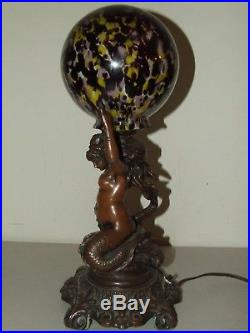 Antique Bronze Art Deco Figural Nude Mermaid Woman Table Lamp with Art Glass Shade
