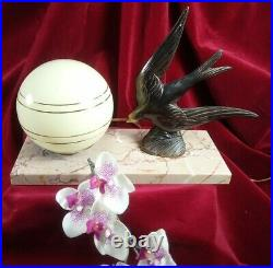 Antique Bronze French Night Table Reading Lamp Swallow Bird Art Deco Vintage