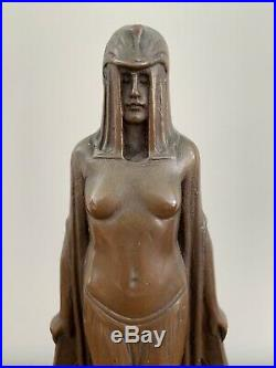 Antique Bronze Nude Egyptian Revival Art Deco Desk Lamp Inkwell