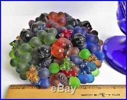 Antique CZECH Deco 9 FRUIT BASKET Art GLASS LAMP Bead Shade COBALT Cut URN Base