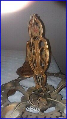 Antique Cast Iron Art Deco Nouveau Chandelier Light Lamp Fixture