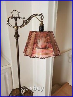 Antique Cast Wrought Iron Bridge Arm With Smoking Stand Art Deco Floor Lamp Mica