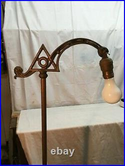 Antique Cast and Brass Floor Lamp 56in Tall Art Deco Working Lamp