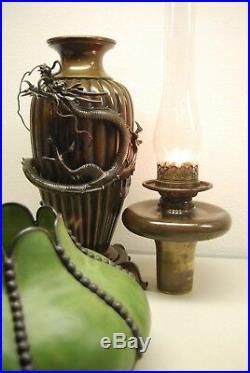 Antique Chinese Japanese Bronze Meiji Kerosene Oil Art Nouveau Deco Dragon Lamp
