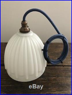 Antique Edwardian Art Deco Milk Glass Porch Lamp Pendant Light Moonstone Opaline
