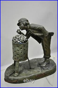 Antique Figural Spelter Metal Ahi La Bonne Pipe Ranieri Statue Art Deco Lamp B