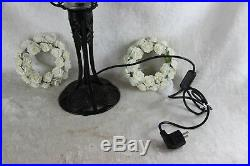 Antique Flemish 1930 ART deco Wrought iron Table lamp Glass shade