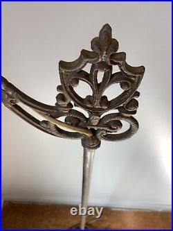 Antique Floor Lamp Brass Cast Iron Bridge Art Deco Light Fleur de Lis Vintage D