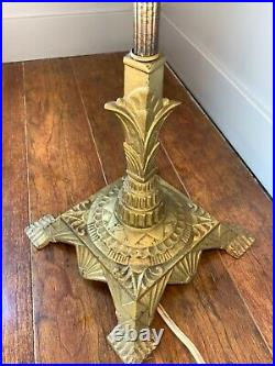 Antique Floor Lamp Bright Brass Cast Art Deco Light Project Vintage No Shade