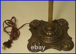 Antique Floor Lamp Vaseline Brass Cast Iron Petite Vtg Art Deco Rewired USA #N65