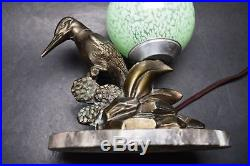Antique French ART DECO 1920's Bronze Sculpture Kingfisher Lamp Signed Limousin