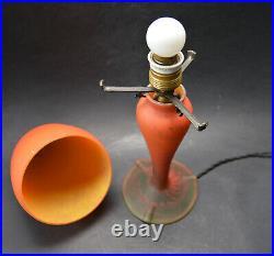 Antique French ART DECO Pate de Verre Mushroom Table Lamp Signed