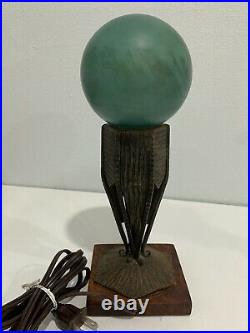 Antique French Art Deco Metal & Green Glass Globe Lamp with Wood Base