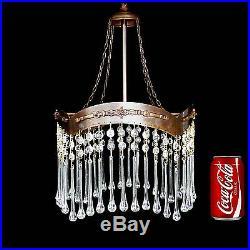 Antique French Art-Nouveau/ Deco Long Crystal Teardrop Chandelier/ Ceiling Lamp