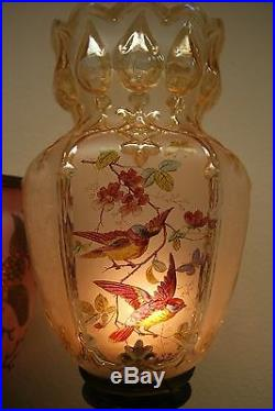Antique French Austrian Art Nouveau Deco Baccarat Gwtw Oil Kerosene Banquet Lamp