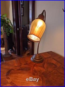 Antique French Lamp RGF SIGNED IRIDESCENT Gold AURENE FAVRILE ART GLASS RIB