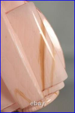 Antique French Marble Pink Skyscraper Glass Lamp Shade ART DECO 1930s