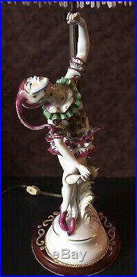 Antique German Art Deco Schwarzburger Figurine Porcelain Lamp Ultra Rare