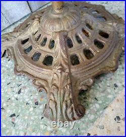 Antique Gold Cast Iron Art Deco Dragon Griffin Head Bridge Arm Floor Lamp