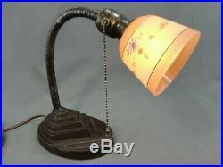 Antique Gooseneck Art Deco Era Table Lamp Original Painted Glass Shade