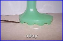 Antique Houzex Jadeite MCM Art Deco Glass Desk Lamp With Original Label