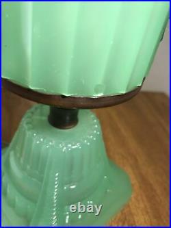Antique Jadeite Green depression glass art deco table lamp