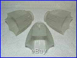 Antique Lot of 3 Art Deco Frosted 6 Sided Glass Pendant Tulip Star Lamp Shades