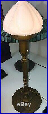 Antique Miller Zodiac Bronze / Brass Table Lamp with Milk Glass Shade. Art Deco