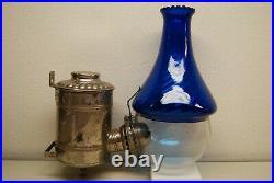 Antique Old Arts Crafts Art Nouveau Deco Cobalt Glass Oil Kerosene Angle Lamp