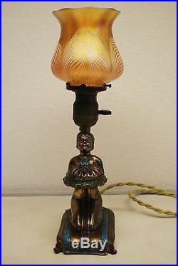 Antique Old Figural Aronson Egtptian Revival 1923 Art Deco Nouveau Erotic Lamp