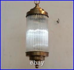 Antique Old Vintage Art Deco Fixture Ceiling Brass Hanging Light Glass Rod Lamp