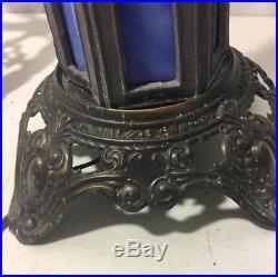 Antique PEH cast Spelter & Blue Slag Glass Victorian Art Deco Table Lamp 22