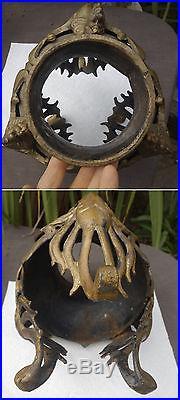 Antique Phoenix BIRD Lamp Iron art Deco base part antique planter shabby Vintage