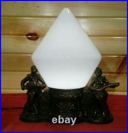 Antique Pot Metal Art Deco Lamp Light Man Woman Musicians Crackle Glass Globe