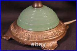 Antique VINTAGE 1930's ART DECO PYRAMID JADE JADITE HOUZEX BOUDOIR TABLE LAMP