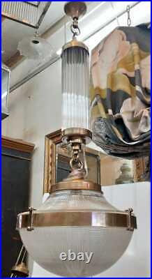 Antique Vintage Art Deco Brass & Glass Ship Ceiling Fixture Hanging Light Lamp