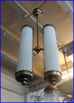 Antique Vintage Art Deco Fixture Ceiling Brass Hanging Light Milk Glass Lamp
