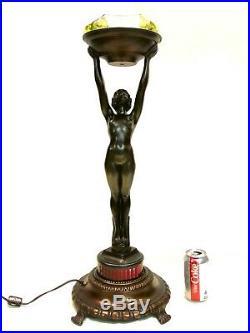 Antique Vintage Art Deco Frankart Nuart Nude Woman Standing Floor Lamp Ashtray