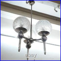 Antique Vintage Art Deco Hanging Nickel Ceiling Fixture Light Chandelier Lamp