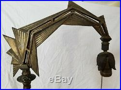 Antique Vintage EXCO 383 Cast Iron Brass Bronze Art Deco Modern Floor Lamp