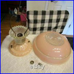 Antique Vintage Hobnail Art Deco Glass Ceiling Light Lamp Fixture Pink 30s 40s