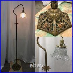 Antique Vintage Victorian Floor Bridge Lamp Arts & Crafts Deco Piano Glass Shade