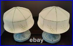 Antique/Vtg 1920s-40s Art Deco Ceiling Light/Lamp Fixtures, RARE Green, QTY 2